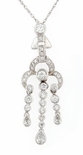 Tajmahal Bezel Set Round And Pear Cubic Zirconia Drop Pendant
