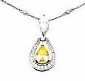 Nova Pear Cubic Zirconia Marquis Pave Set Round Drop Pendant Necklace