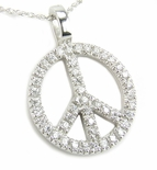 Peace Sign Pave Set Round Cubic Zirconia Pendant