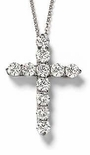 Tiphany Cross Prong Set Round Cubic Zirconia Pendants