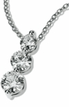 Post Set Three Stone Round Cubic Zirconia Graduated Anniversary Pendant