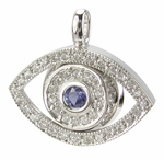 Protective Evil Eye Cubic Zirconia Pave Man Made Sapphire Pendant