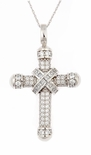 Dijon Round Cubic Zirconia Princess Cut Cross Pendant