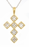 LaCroix Princess Cut Square Cubic Zirconia Cross Pendant