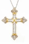 Balfour Two Tone Antique Old World Style Cubic Zirconia Cross Pendant