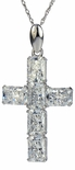 Arista Emerald Radiant Cut Cubic Zirconia Cross Pendant