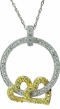 Double Heart Pave Set Round Cubic Zirconia Circle of Love Pendant