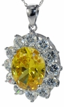 Versailles 6.5 Carat Simulated Oval Canary Diamond Halo Cubic Zirconia Round Pendant