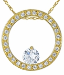 Floating Circle of Love Pave Set Round Cubic Zirconia Pendant
