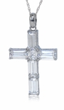 Canterbury Emerald Step Cut Asscher Cut Cubic Zirconia Cross Pendant