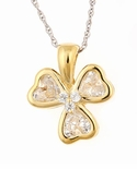 Cubic Zirconia Heart Shaped Three Leaf Clover Pendant