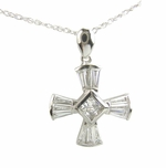 Prisma Channel Set Baguette Cubic Zirconia Princess Cut Cross