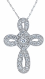 Eternal Cross Pave Set Round Cubic Zirconia Milgrain Pendant