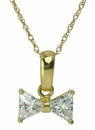 Bow Tie Trillion Triangle Cubic Zirconia Pendant