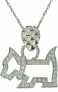 Scottie Dog Pave Set Round Cubic Zirconia Pendant
