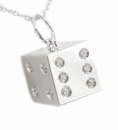Vegas Baby! Dice Pendant with Burnish Set Cubic Zirconia