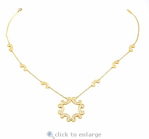Cienna Pave Set Round Cubic Zirconia Scalloped Necklace