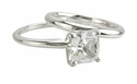 Cushion Cut Square Classic Cubic Zirconia Solitaire Engagement Rings with Matching Wedding Bands