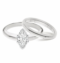Marquise Classic Cubic Zirconia Solitaire Engagement Rings with Matching Wedding Bands