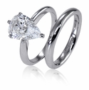 Pear Classic Cubic Zirconia Solitaire Engagement Rings with Matching Wedding Bands