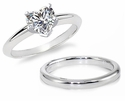 Heart Classic Cubic Zirconia Solitaire Engagement Rings with Matching Wedding Bands