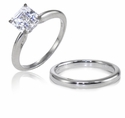 Asscher Cut Classic Cubic Zirconia Solitaire Engagement Rings with Matching Wedding Bands
