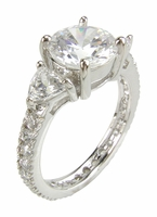 2.5 Carat Cubic Zirconia Round With Trillions Eternity Antique Estate Style Ring