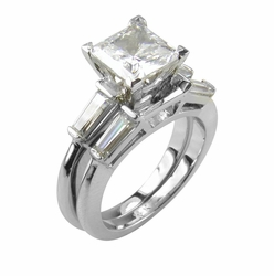 Princess Cut Cubic Zirconia Baguette Solitaire with Matching Band Wedding Sets