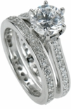 Cusana 1.5 Carat Round Cubic Zirconia Micro Pave Eternity Cathedral Bridal Set
