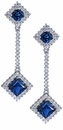 Royal Cubic Zirconia Princess Cut Halo Man Made Sapphire Pave Drop Earrings