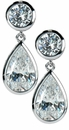 Giorgio Pear Cubic Zirconia Bezel Set Round Dangle Drop Earrings