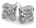 Decadence Cubic Zirconia Cushion Cut Basket Set Stud Earrings Series