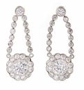 Pallini Scalloped 1 Carat Round Cubic Zirconia Cluster Stud Drop Earrings