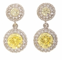 Amici Canary Cubic Zirconia Round Halo Drop Earrings