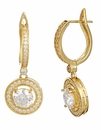 Geneva Round Cubic Zirconia Halo Drop Pave Earrings