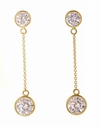 Montura Bezel Set Cubic Zirconia Round Drop Earrings