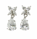 Butterfly 2 Carat Cubic Zirconia Pear Marquise Cluster Drop Earrings