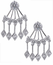 Pyramus Round and Diamond Shaped Cubic Zirconia Chandelier Earrings