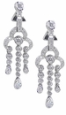 Tajmahal Bezel Set Cubic Zirconia Round Pear Chandelier Drop Earrings