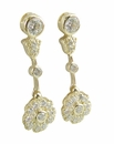 Victoria Floral Motif Cubic Zirconia Pave Set Round Earring Drops