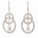 Celina Chandelier Cubic Zirconia Oval Pave Set Round Drop Earrings