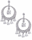 Chantilly Cubic Zirconia Pear Chandelier Round Drop Earrings