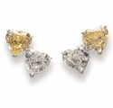 Double Heart Shaped 1 Carat Cubic Zirconia Stud Earrings