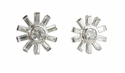 Mayfair .50 Carat Bezel Set Cubic Zirconia Round Baguette Stud Earrings