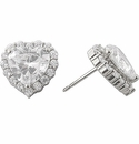 Desire Heart Shaped Cubic Zirconia Halo Stud Earrings