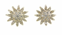 Sunburst Pave Set Cubic Zirconia Round Stud Earrings