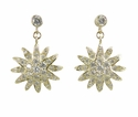 Sunburst Pave Set Cubic Zirconia Round Dangle Drop Earrings