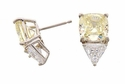 Aimee 2.5 Carat Cushion Cut Cubic Zirconia 1.5 Carat Trillion Stud Earrings