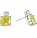 Kyra Cubic Zirconia Cushion Cut Canary and Round Stud Earrings