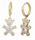 Teddy Bear Prong Set Cubic Zirconia Round Drop Earrings